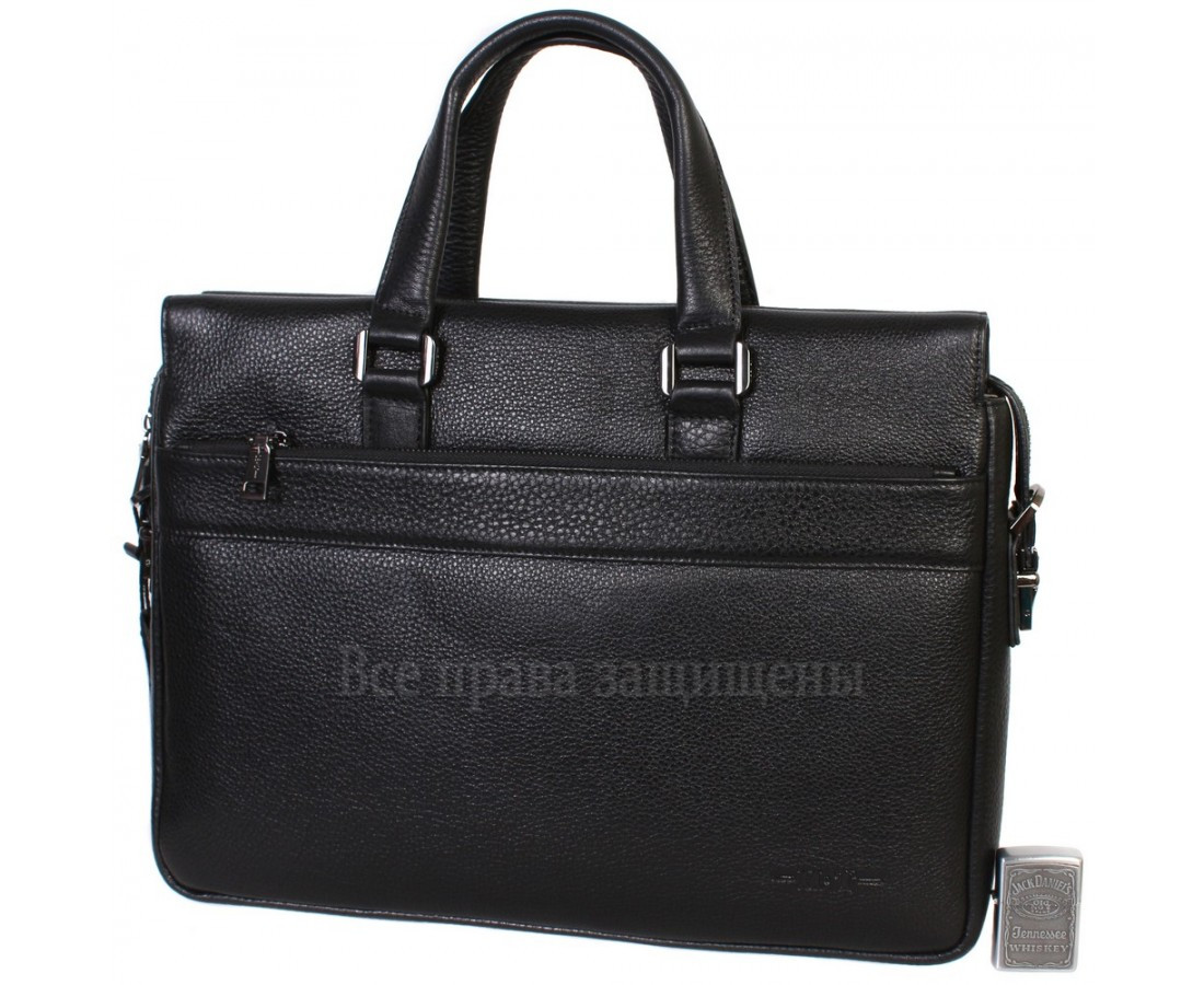 Чоловіча шкіряна сумка для ноутбука чорна (Формат: більше А4) HT-5249-1