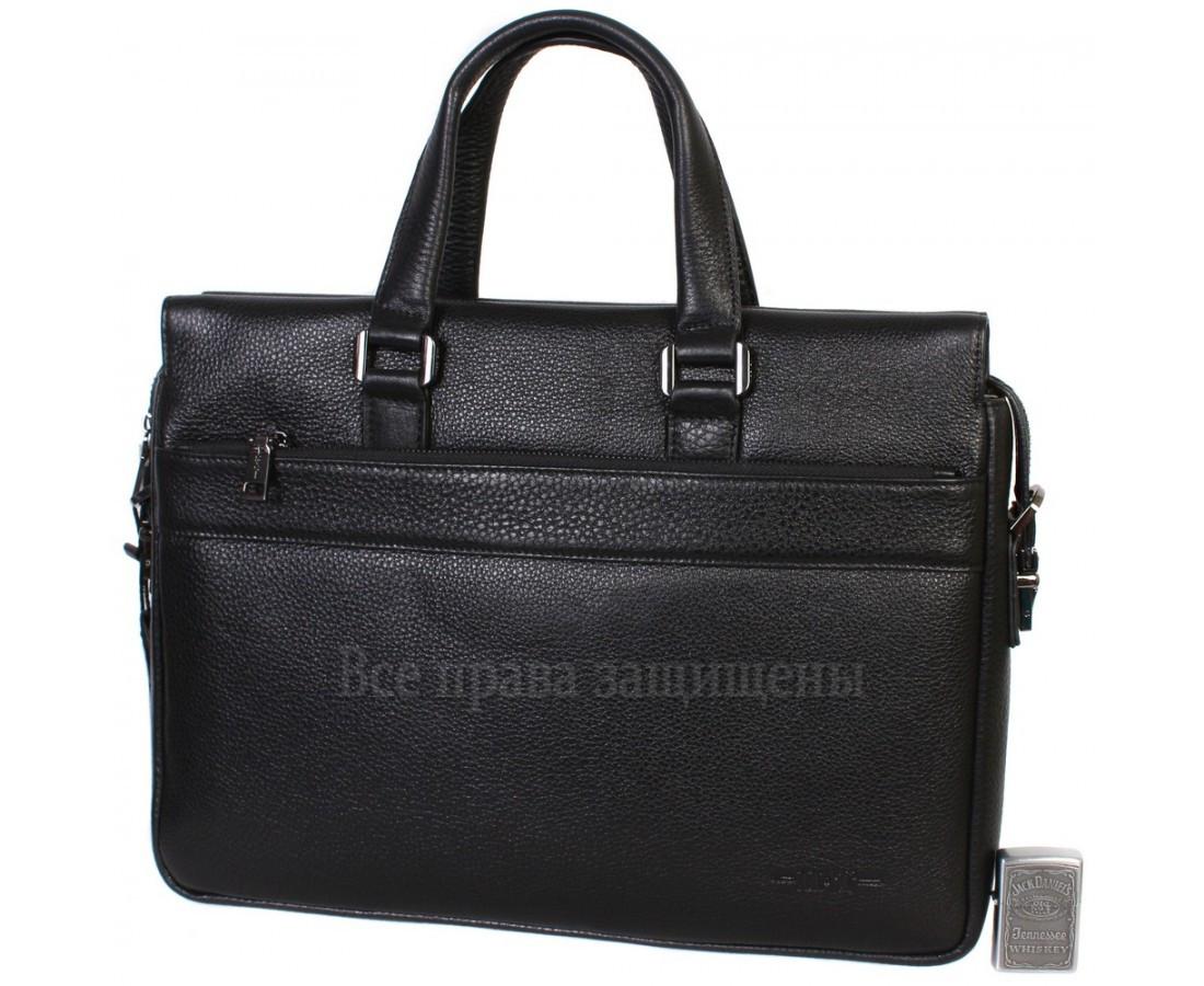 Мужская кожаная сумка для ноутбука черная (Формат: больше А4) HT-5249-1