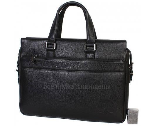 Мужская кожаная сумка для ноутбука черная (Формат: больше А4) HT-5249-1, фото 2