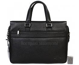 Мужская кожаная сумка для ноутбука черная (Формат: больше А4) HT-5249-1, фото 3