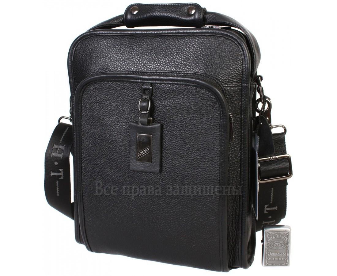 Чоловіча чорна шкіряна сумка (Формат: більше А4) HT-7843-3