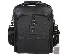 Мужская кожаная сумка через плечо черная (Формат: больше А4) HT-7843-3, фото 2