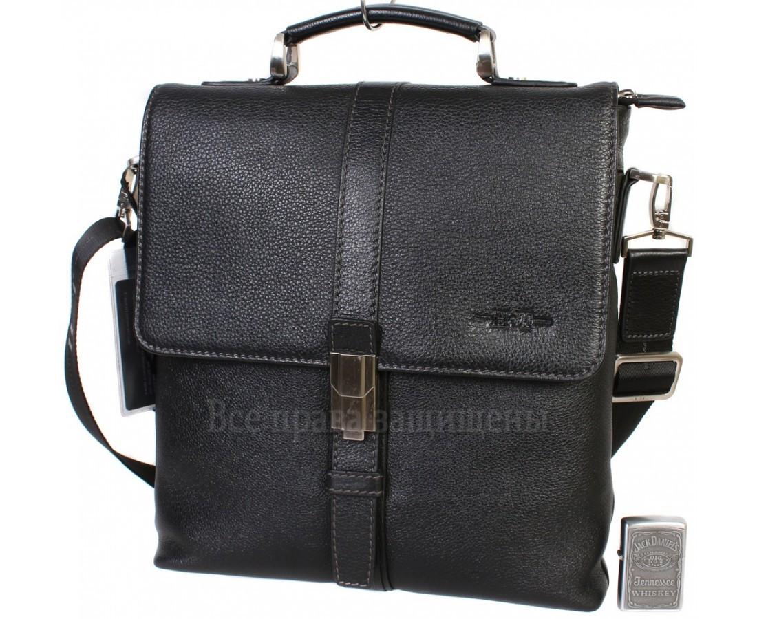 Мужская кожаная сумка через плечо черная (Формат: больше А4) HT-5117-2