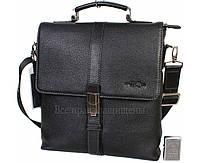 Мужская кожаная сумка черная (Формат: больше А4) HT-5117-2