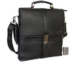 Мужская кожаная сумка через плечо черная (Формат: больше А4) HT-5117-2, фото 3
