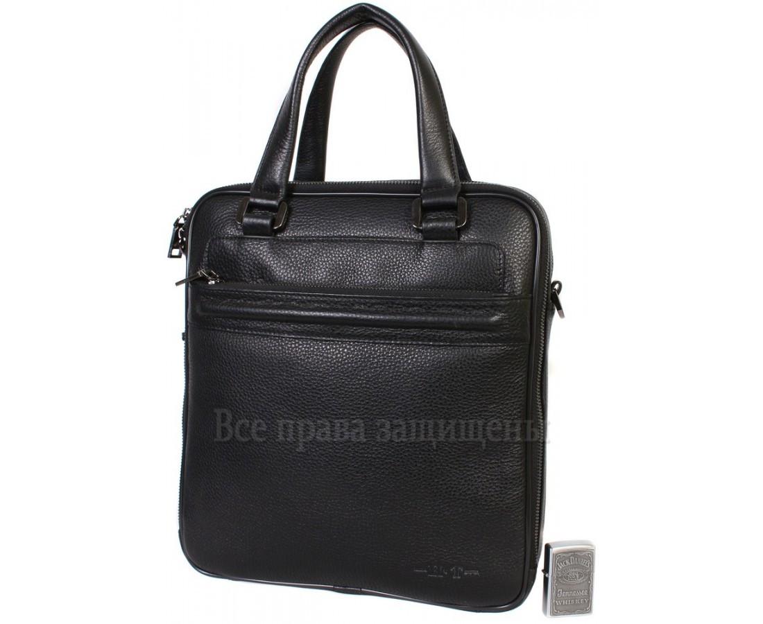 Мужская кожаная сумка черная (Формат: больше А4) HT-5240-2