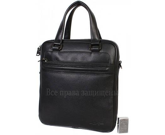 Мужская кожаная сумка черная (Формат: больше А4) HT-5240-2, фото 2