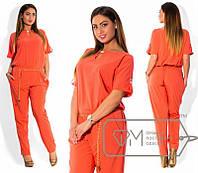 Женский модный комбинезон короткий рукав низ брюками с карманами Н