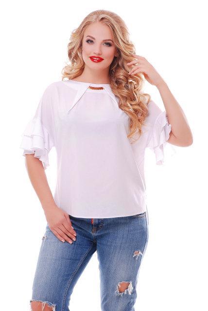 Красивая белая блузка батал с 52 по 58 размер