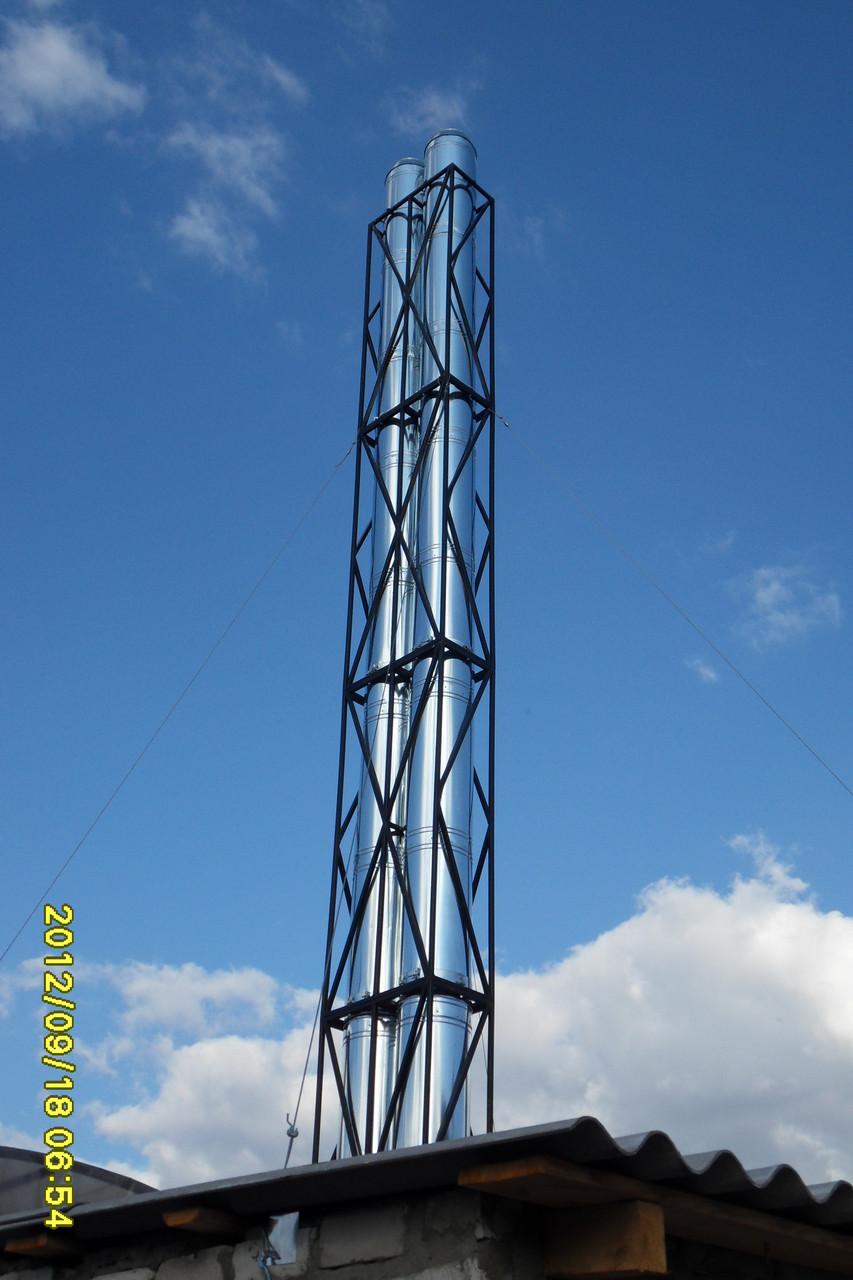 Высотные работы дымоход кладка клинкерного кирпича на дымоход