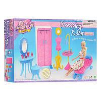 Мебель для кукол гардеробная, шкаф, трюмо, стульчик, софа, манекен, в коробке