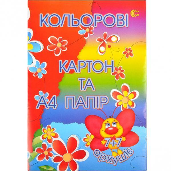 """Цветной картон+цветная бумага """"С"""" А4 7+7"""