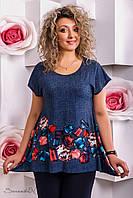 Женская туника футболка с красивым принтом большого размера 48-56 размера
