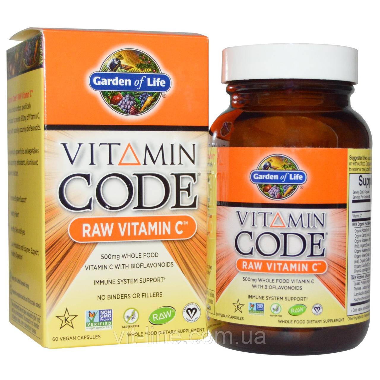 Garden of Life, Vitamin Code, витамин С из сырых продуктов, 60 веганских капсул
