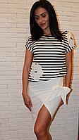 Костюм трикотажный юбка и футболка