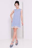 Летнее женское платье из хлопка синего цвета в белую полоску. Модель 16309.