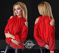 Лёгкая  шифоновая блуза с открытыми плечами красная