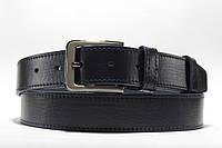 Кожаный темно-синий прошитый одной строчкой ремень шириной 35 мм, фото 1