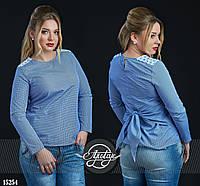 Легкая блузочка в принт Виши синяя