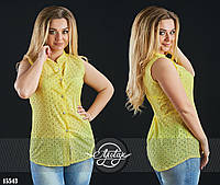 Стильная летняя блуза из прошвы желтая