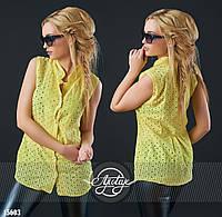 Стильная летняя блуза из прошвы желтого цвета