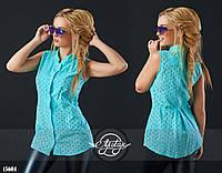 Стильная летняя блуза из прошвы ментоловая
