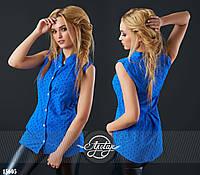 Стильная летняя блуза из прошвы цвет электрик