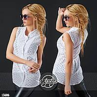 Стильная летняя блуза из прошвы белый цвет