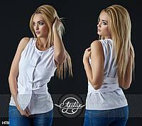 Блузочка с вшитым поясом белая