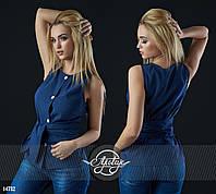 Блузочка с вшитым поясом темно-синяя