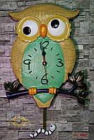 """Часы настенные """"Филин на ветке""""."""