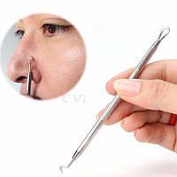 Инструмент для чистки лица профессиональный косметологический двусторонний (игла Видаля изогнутая+петля)