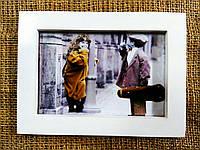 Рамка 10х15см, белая (винтаж), со стеклом и карманом для фото