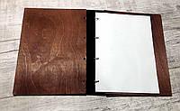 Папка меню из дерева и кожи