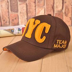 Стильная бейсболка унисекс NYC Team Major. Коричневая.