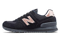 Женские кроссовки New Balance 574 Womens - Black / Rose Gold