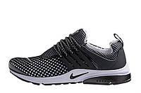 Кроссовки мужские Nike Air Presto Flyknit Weaving Black White ( кроссовки найк аир престо), черно-белые