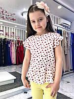 Стильная детская блузка принт сердечки