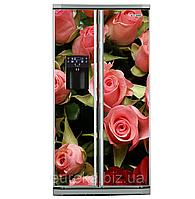 Виниловые наклейки на холодильник типа Side-by-side цветы