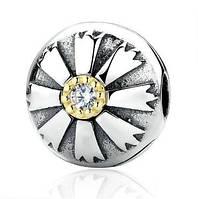 Серебряная клипса Пандора (Pandora) золотой цветок