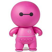 Bluetooth-колонка робот Lesko BL А9 розовая универсальная microSD AUX USB громкая универсальная мультимедийная