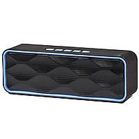 Беспроводная стерео колонка Music BL SC211 синяя с микрофоном портативная bluetooth USB AUX FM-радио microSD