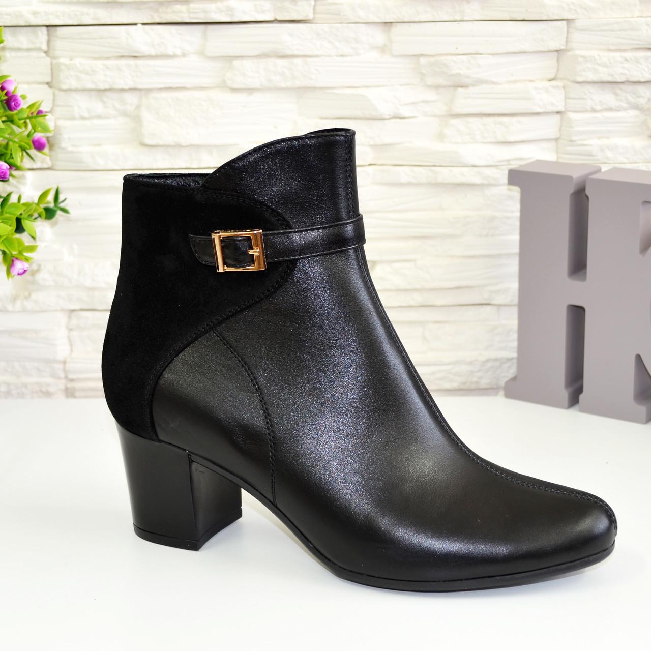 Женские зимние черные ботинки на невысоком каблуке. Натуральная кожа и замша.