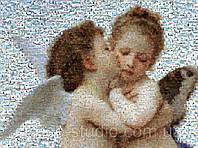Мозаика из фотографий на обоях