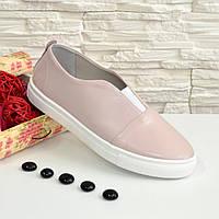 Женские кожаные туфли на утолщенной белой подошве, цвет пудра.