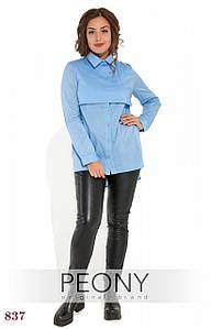 Блузка Кадис (48 размер, голубой) ТМ «PEONY»