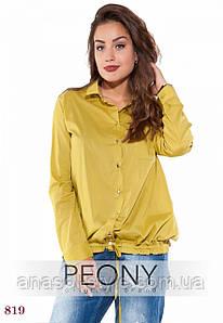 Женская рубашка Лаванья (50 размер, горчица) ТМ «PEONY»