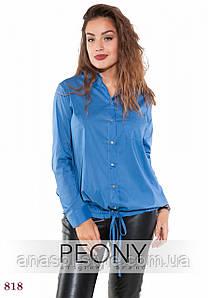 Женская рубашка Лаванья (50 размер, джинс) ТМ «PEONY»