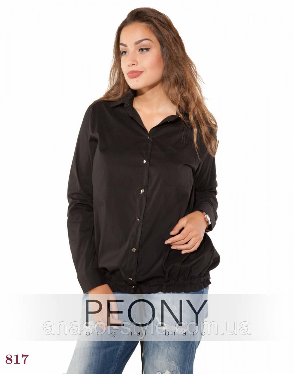 Женская рубашка Лаванья (50 размер, черный) ТМ «PEONY»