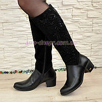 Классические  зимние женские сапоги на каблуке, натуральная кожа и замша.